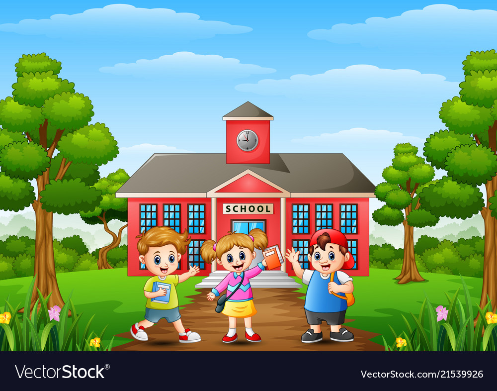 Happy school children standing in front of school