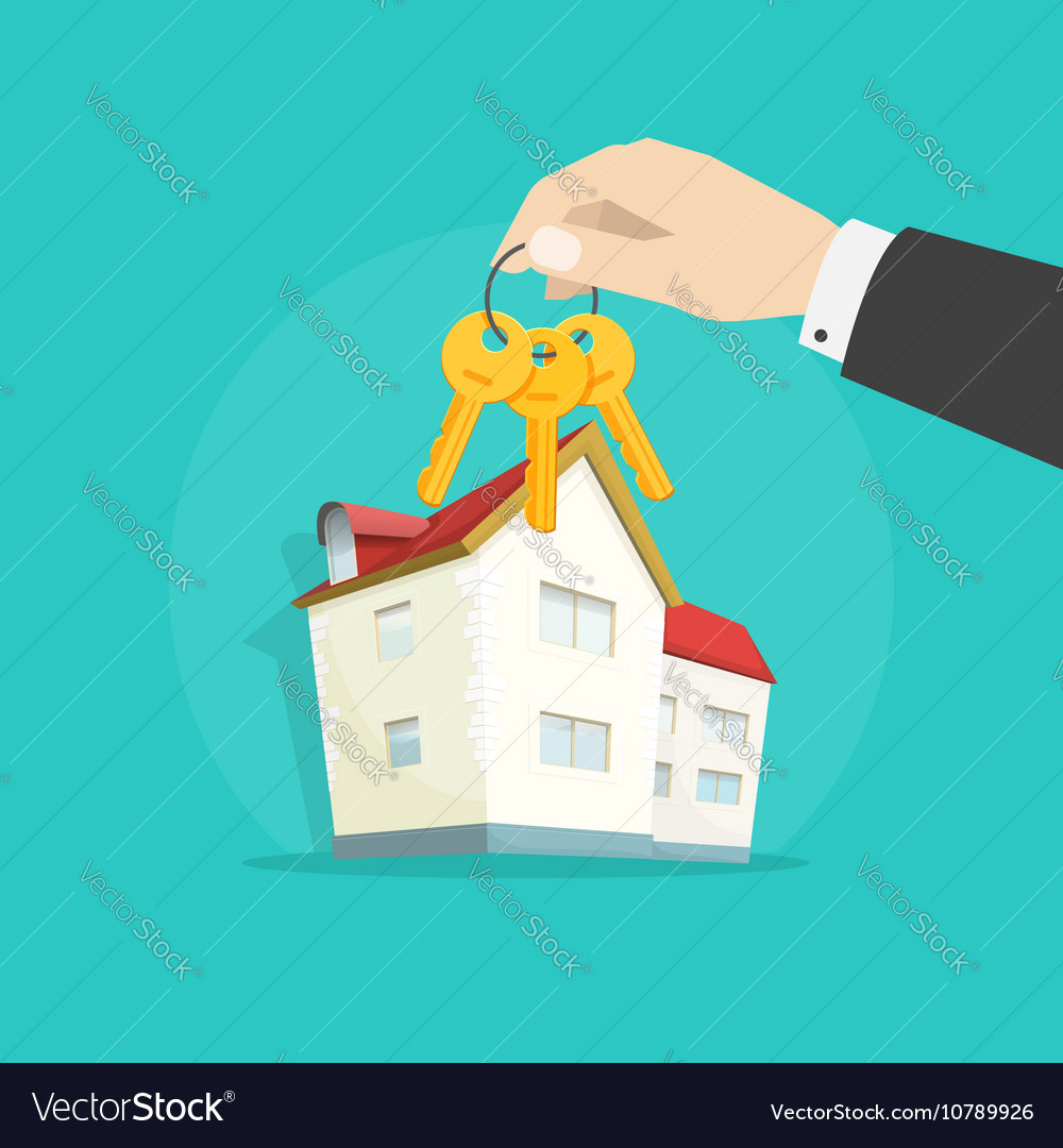 Home keys near house real estate concept
