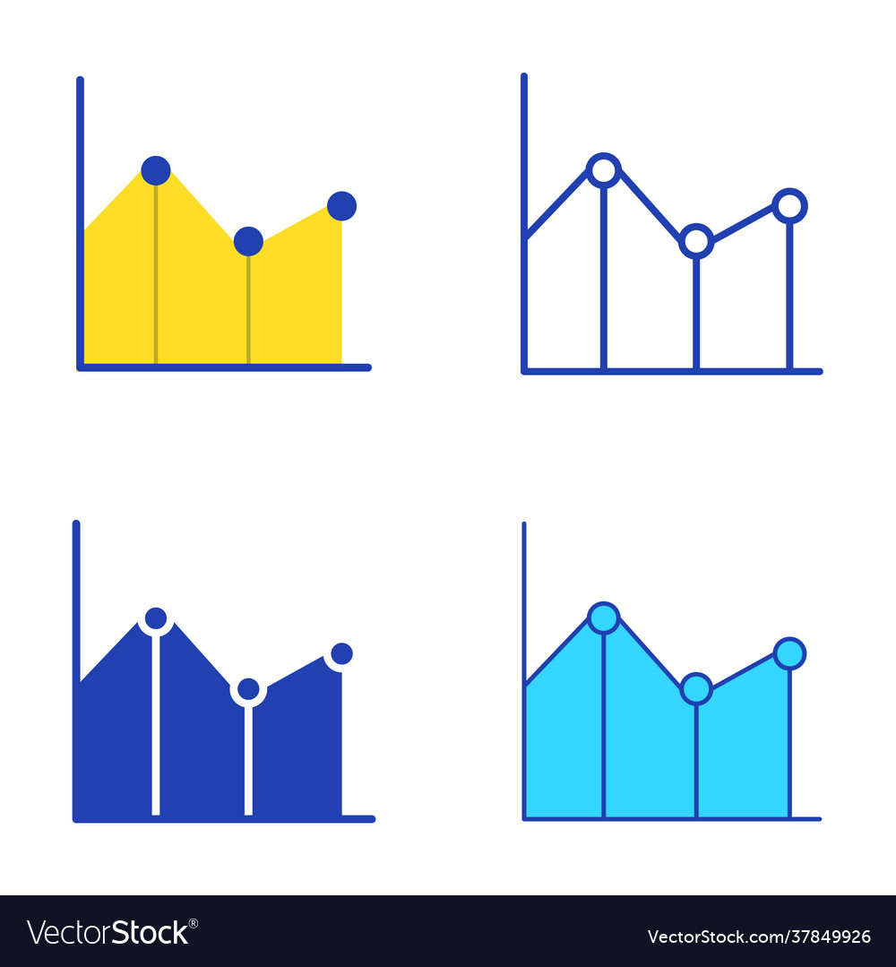 Line graph icon set in flat and style
