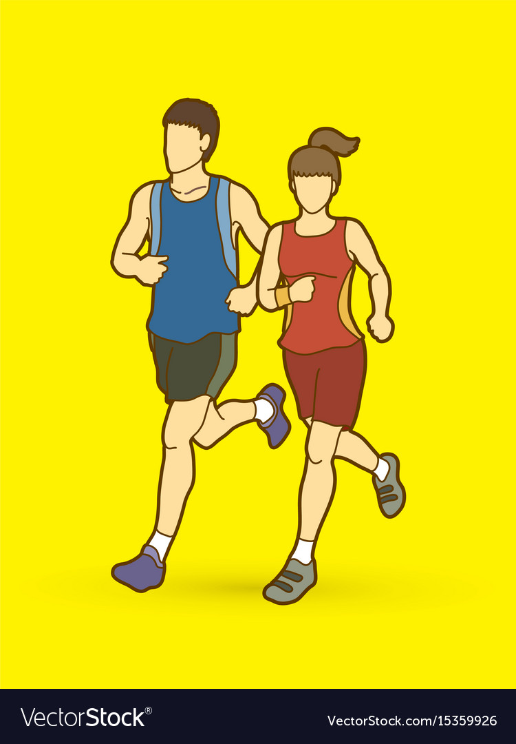 Man and woman running together marathon runner