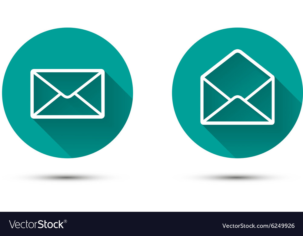 Open and close envelope icons with long shadow on