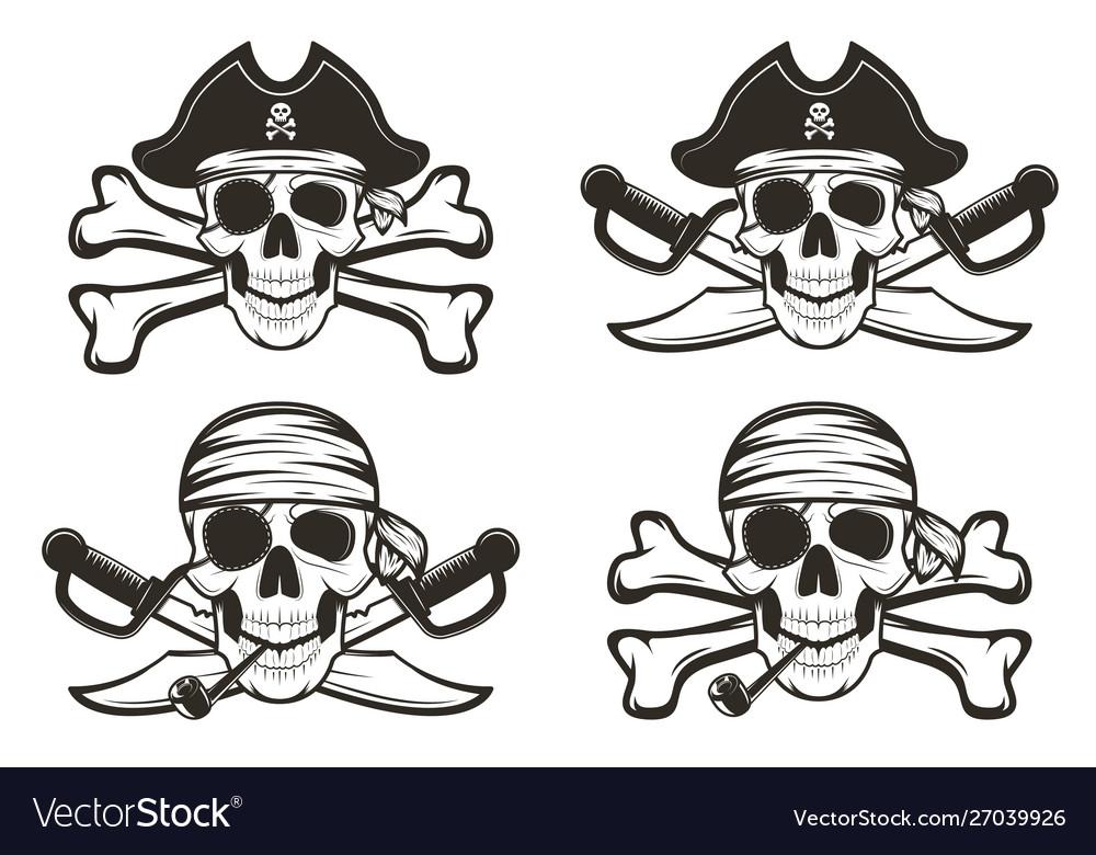 Pirate skull set hand drawn