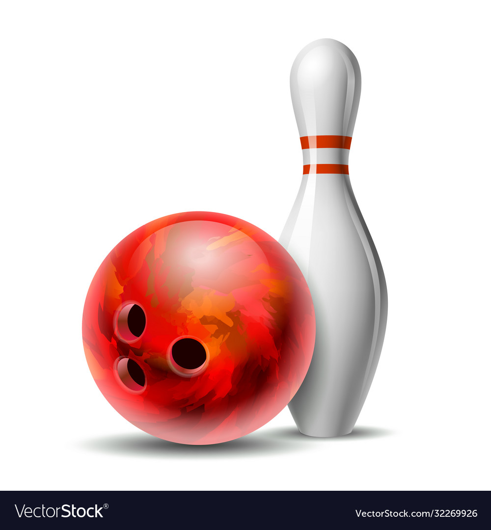 Red glossy bowling ball and white bowling pin
