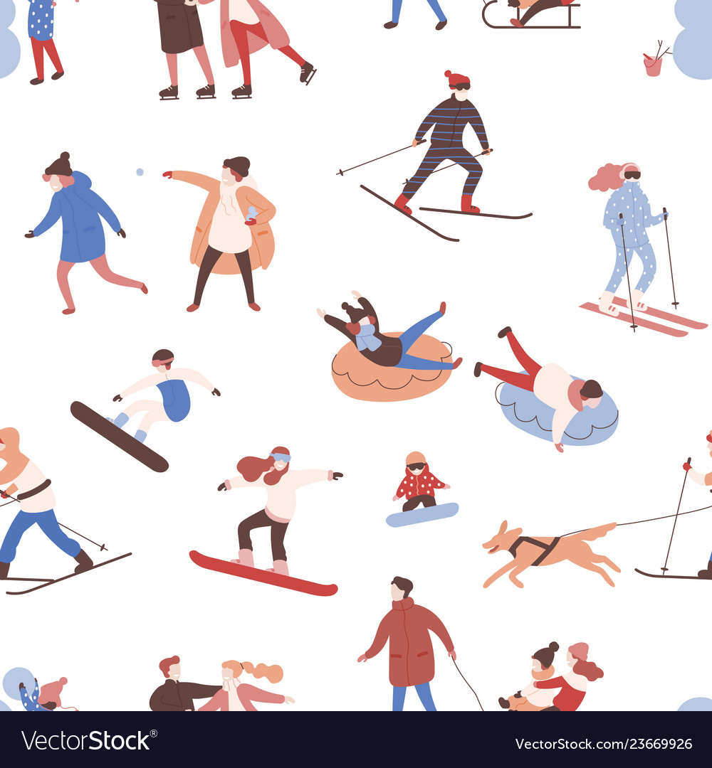 Seamless pattern with men women and kids