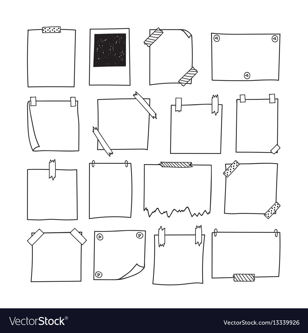 Set of hand drawn paper notes notepapers and vector image