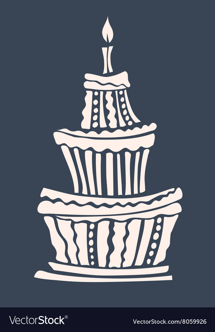 Wondrous Stylized Large Birthday Cake Royalty Free Vector Image Funny Birthday Cards Online Amentibdeldamsfinfo