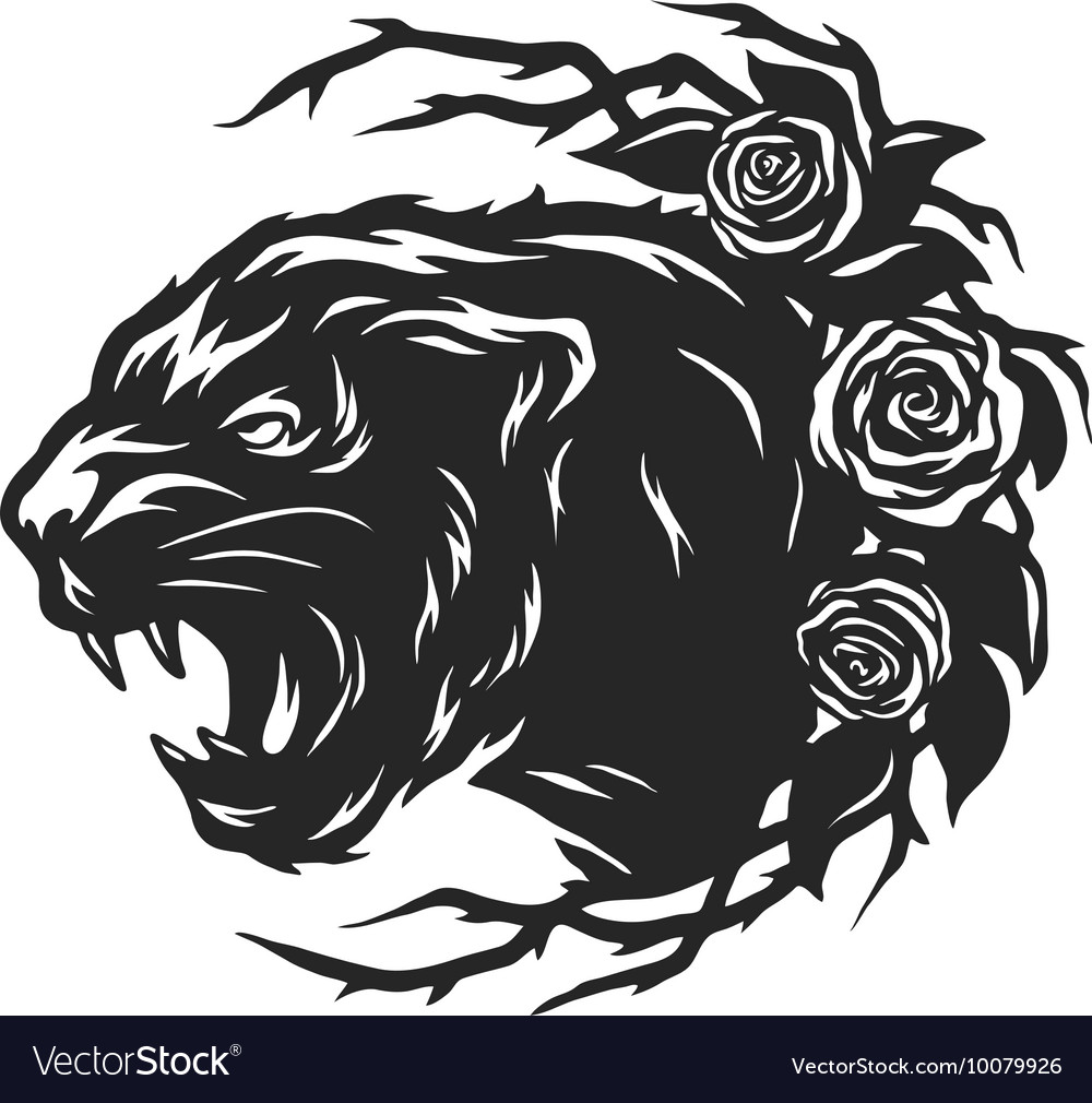 The head of a black panther and roses