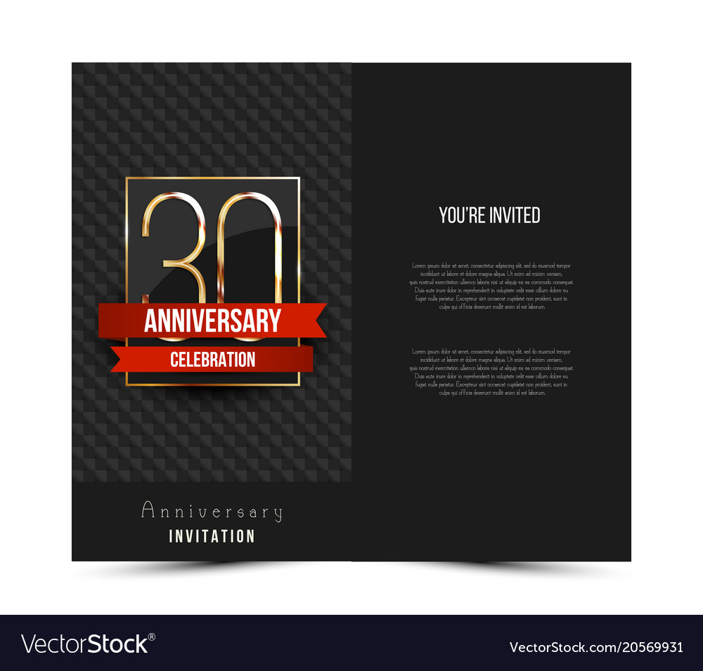 30th anniversary invitation card template vector image stopboris Choice Image