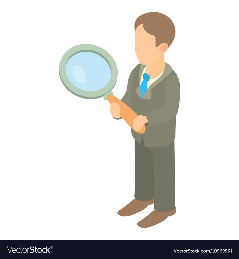 Businessman holding magnifying glass icon