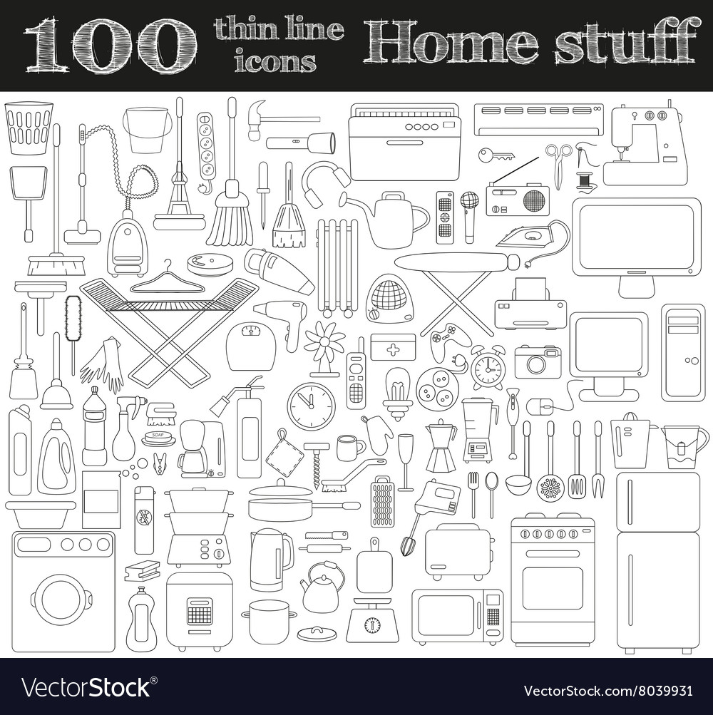 Home stuff icons Set of 100 objects in thin line