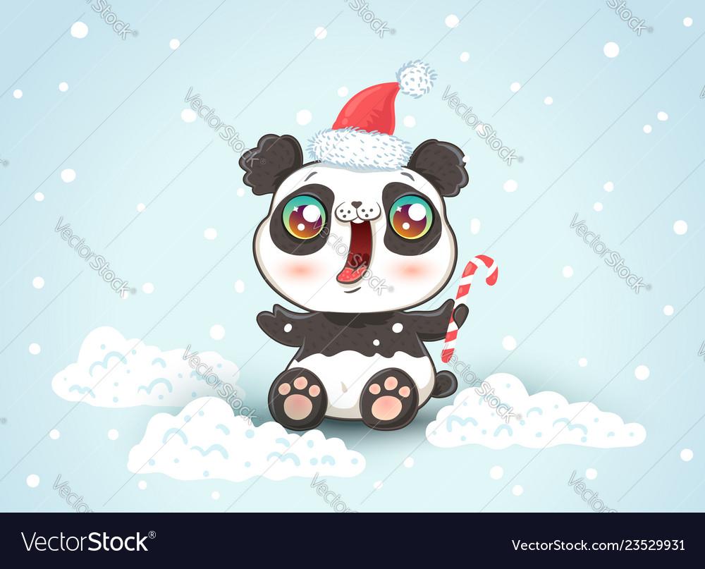 Panda on snow in kawaii style