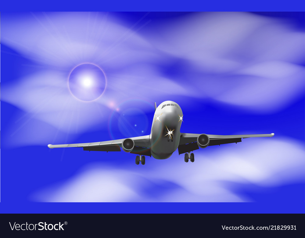 Realistic airplane on a background of blue sky