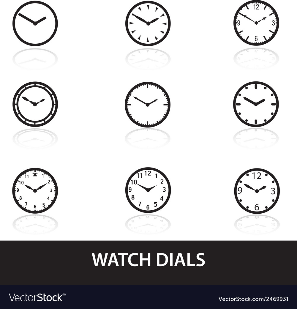 Simple watch dials icons eps10