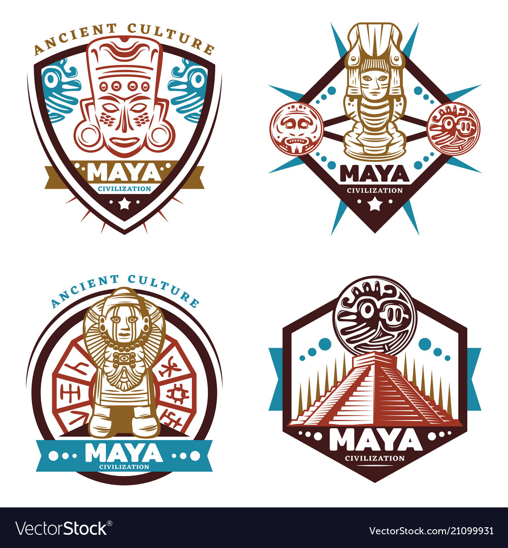 Vintage colored maya civilization emblems set