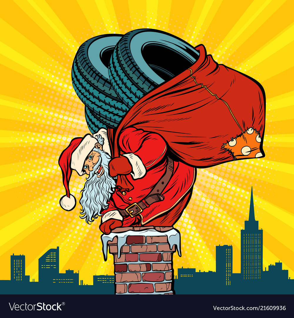 Car winter tires santa claus with gifts climbs