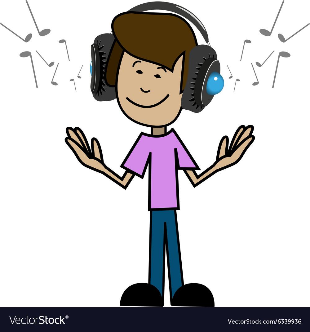 Cartoon man in headphones