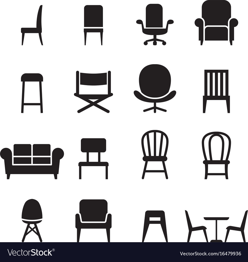 Chair seating icons set