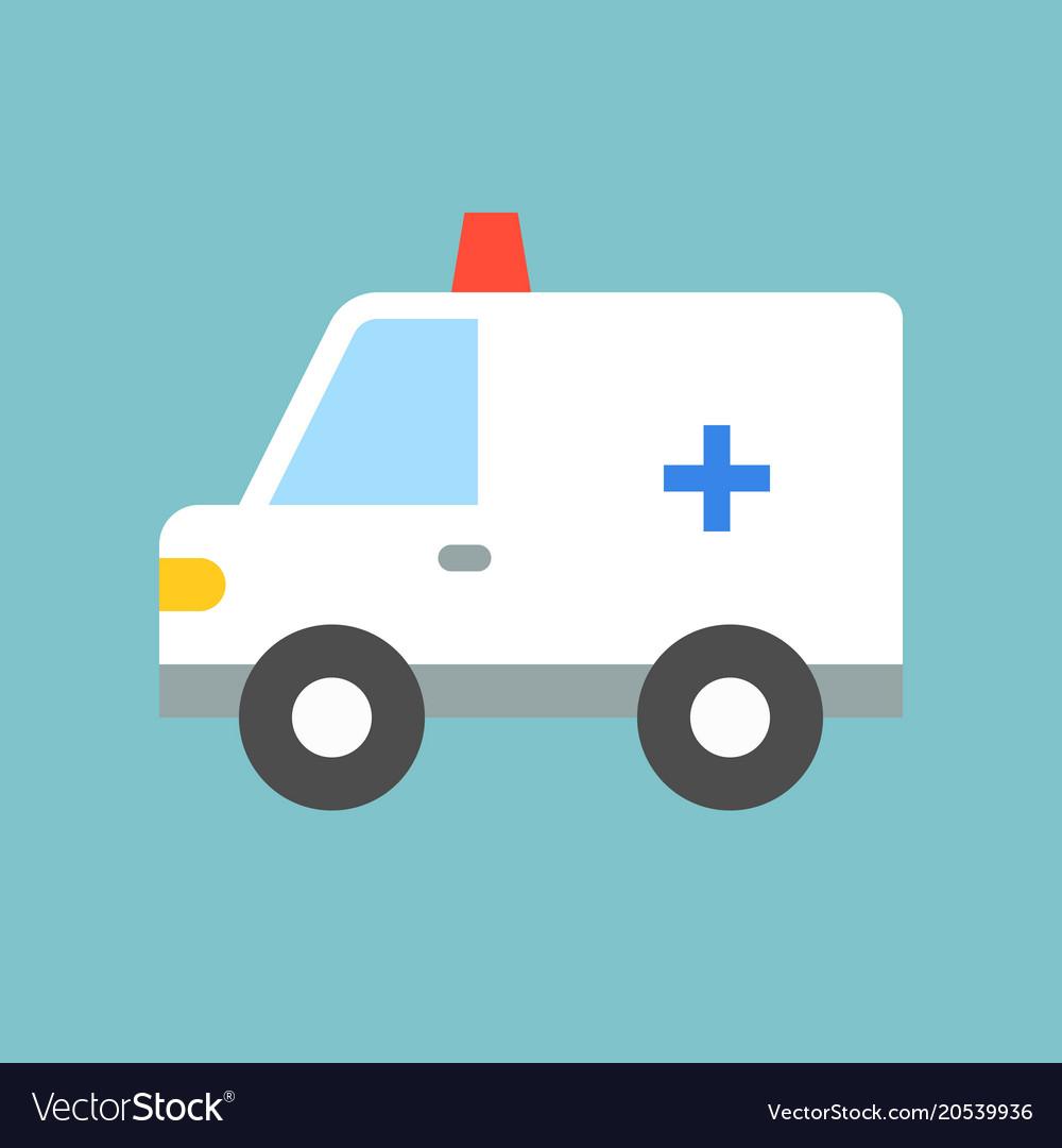 Cute ambulance car flat design icon