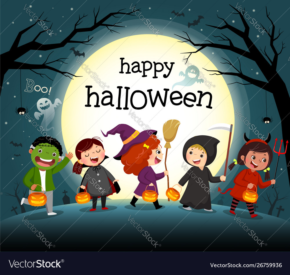 Halloween night background with group kids