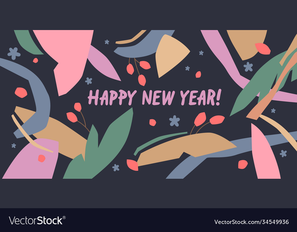 Happy new year a composition with abstract vector