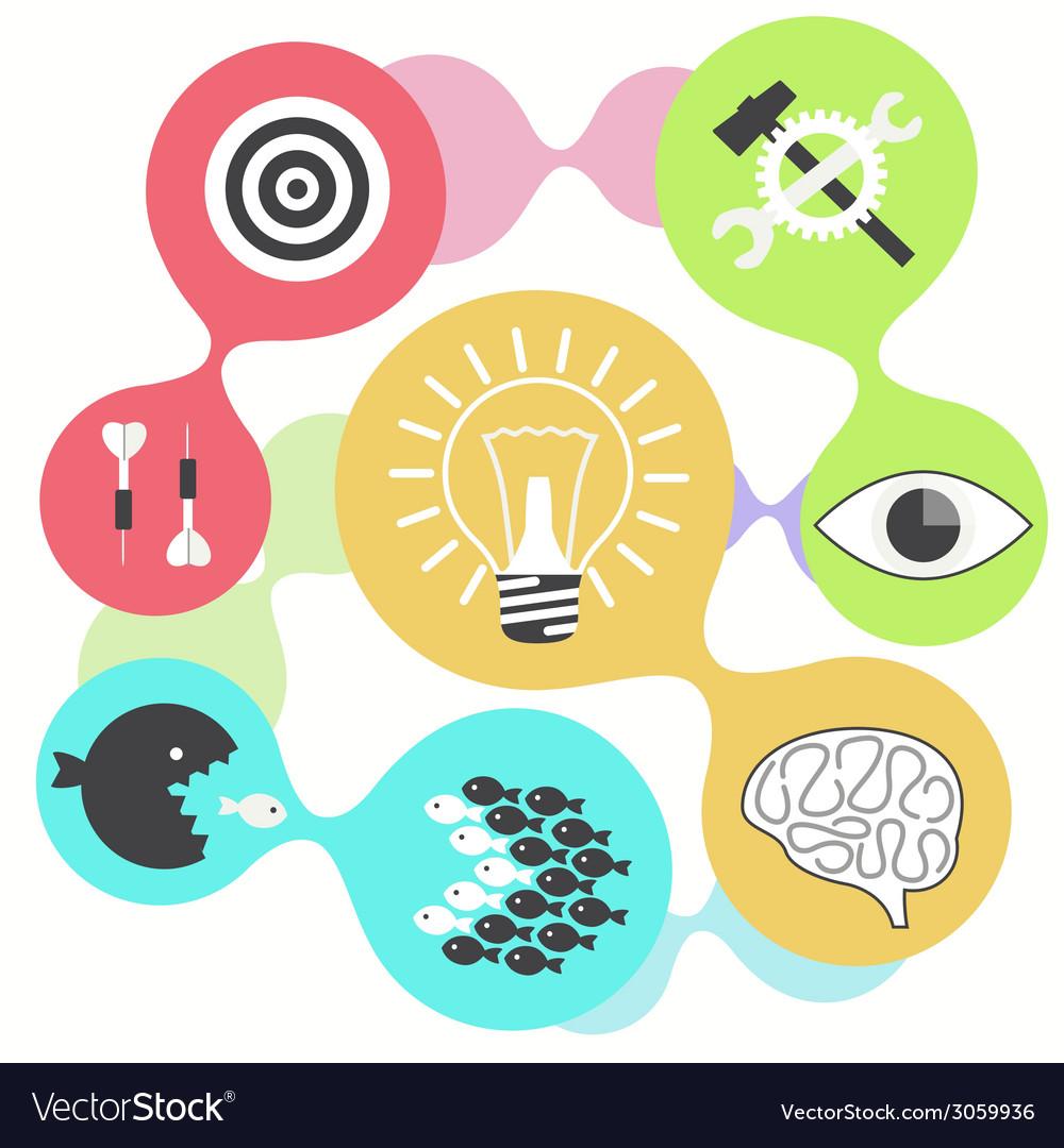 Icon set brain light bulb darts target fish eye