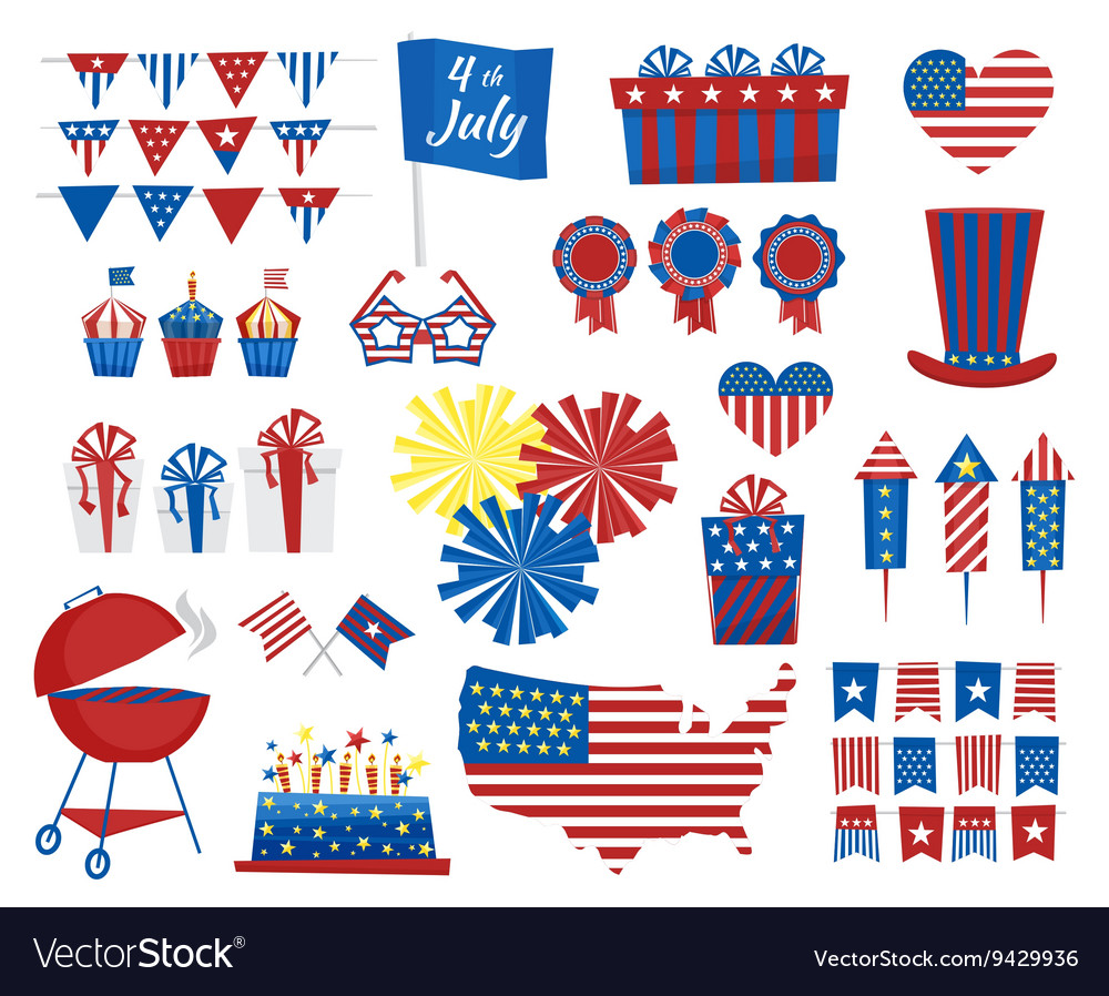 July 4 icons Independence Day of USA colors