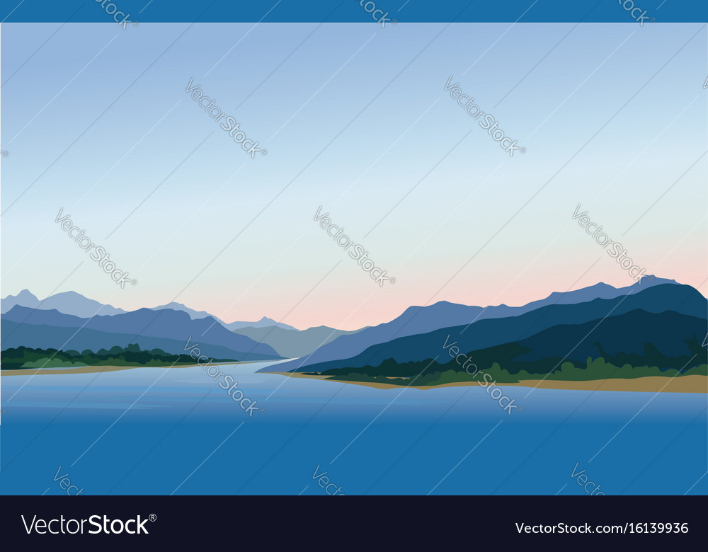 Mountain and hills landscape rural skyline lake