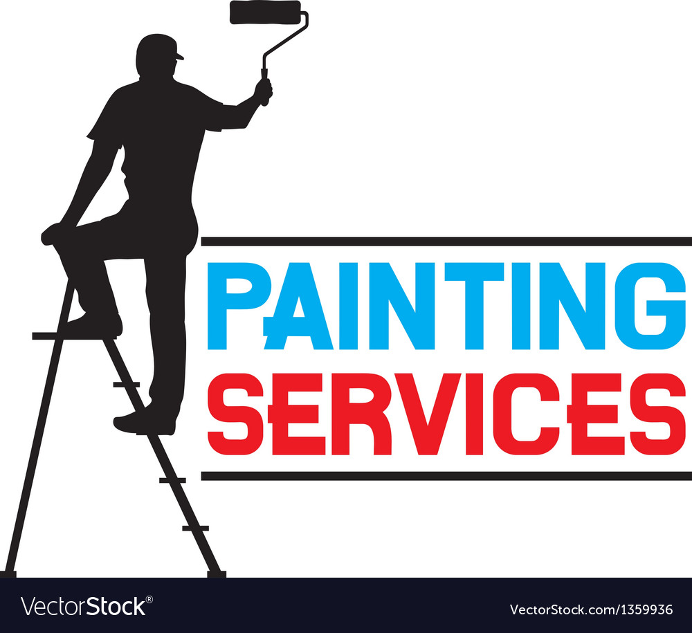 Painting services design - man painting the wall