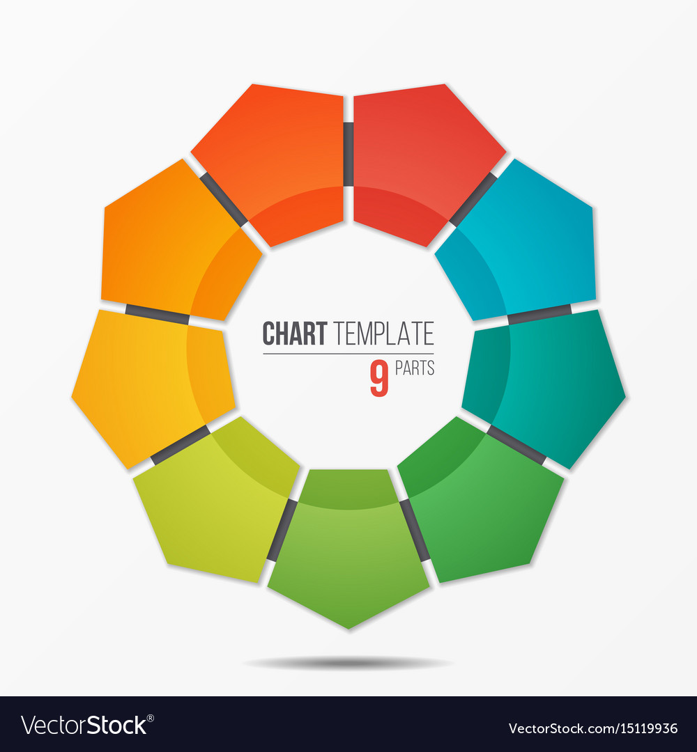 Polygonal circle chart infographic template with 9
