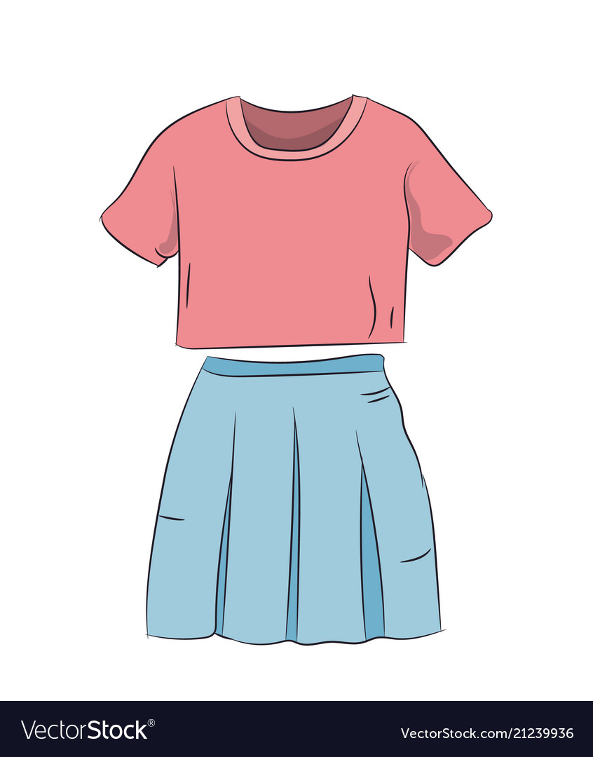 Skirt with t-shirt color