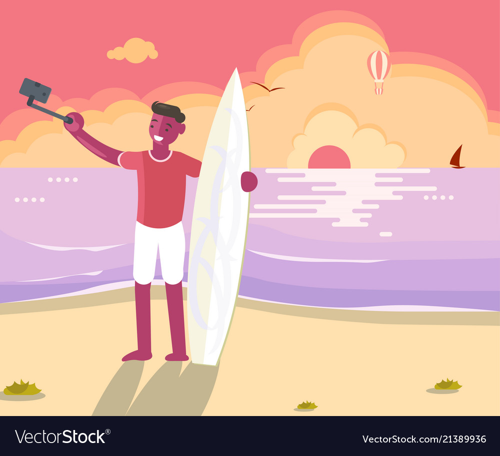 Surfer man with board