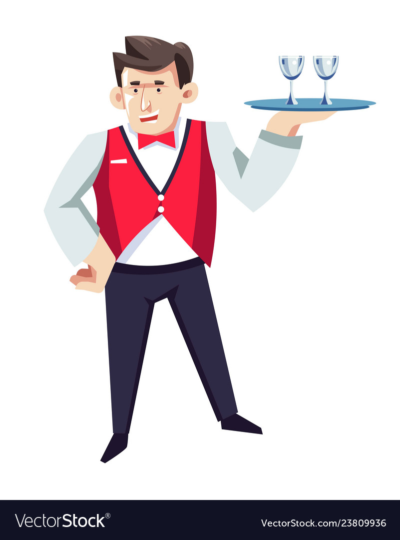 Waiter In Hotel Restaurant With Glasses On Tray In