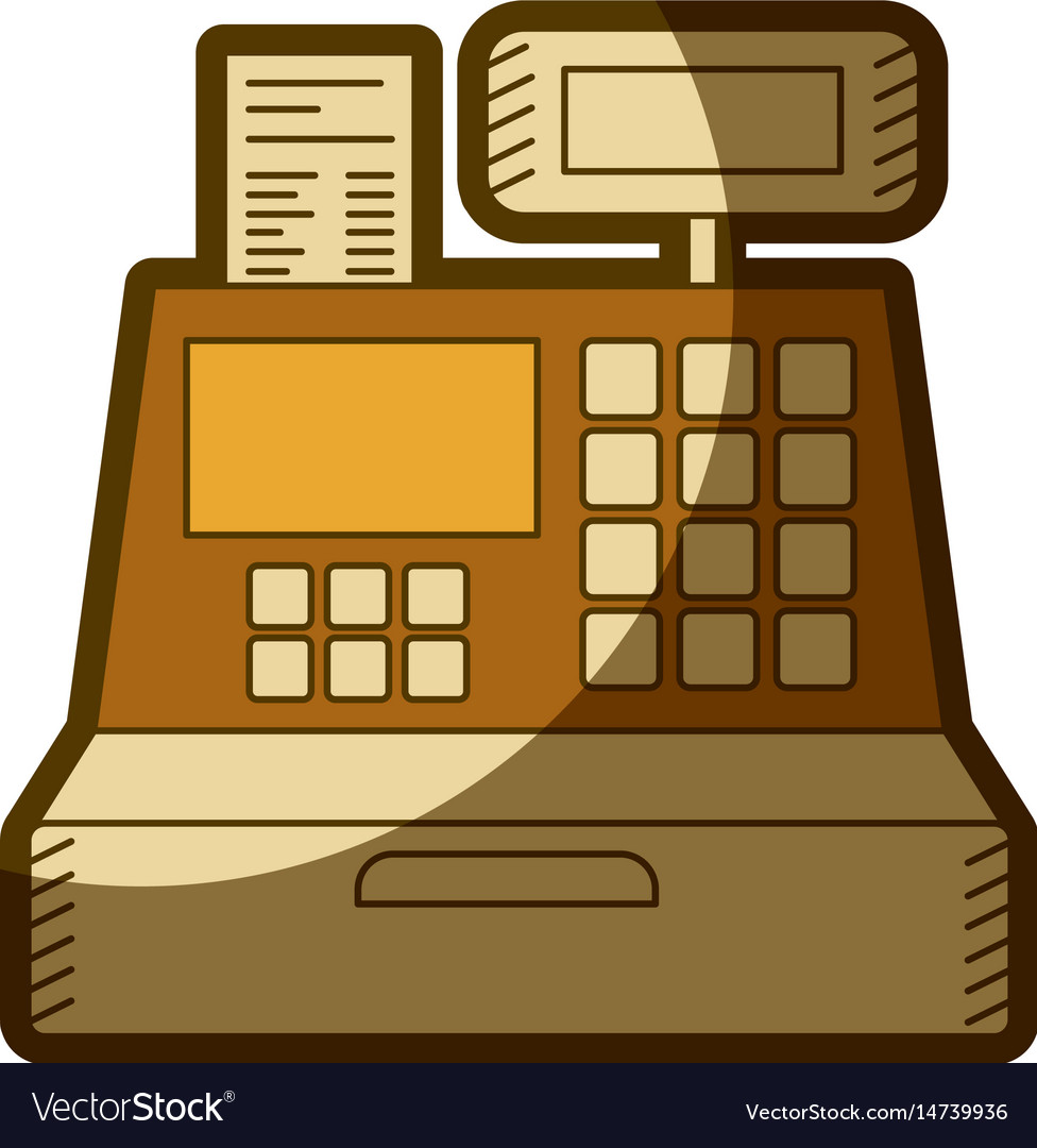 Yellow aged silhouette of cash register