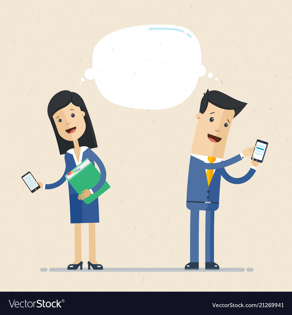 Businessman and business woman talking via