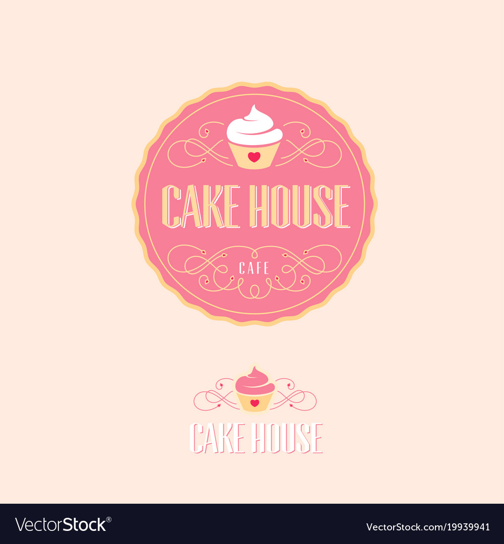 Cake house logo baking and bakery emblem Vector Image