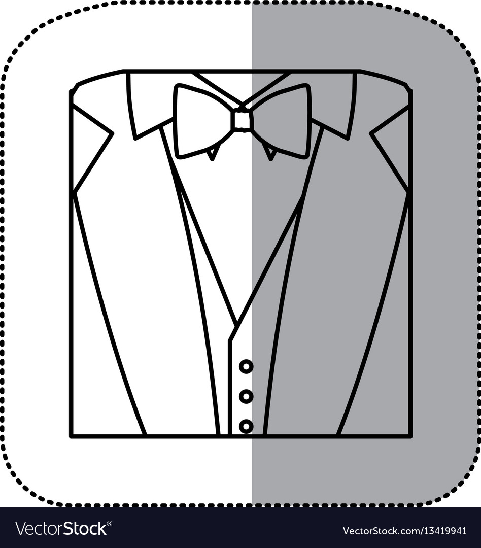Contour Sticker Suit With Bow Tie Icon Royalty Free Vector Diagram Image