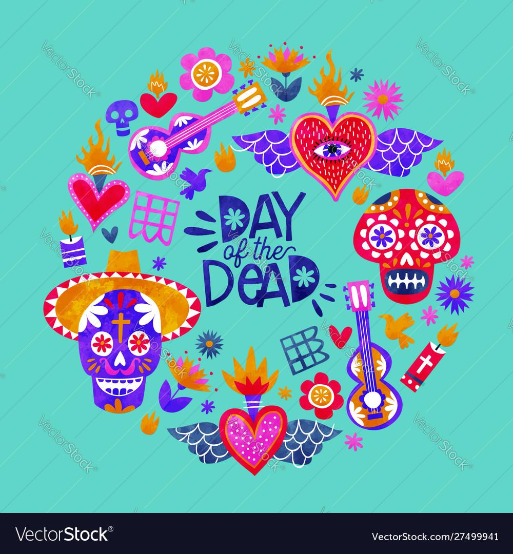 Day dead mexican sugar skull icon card
