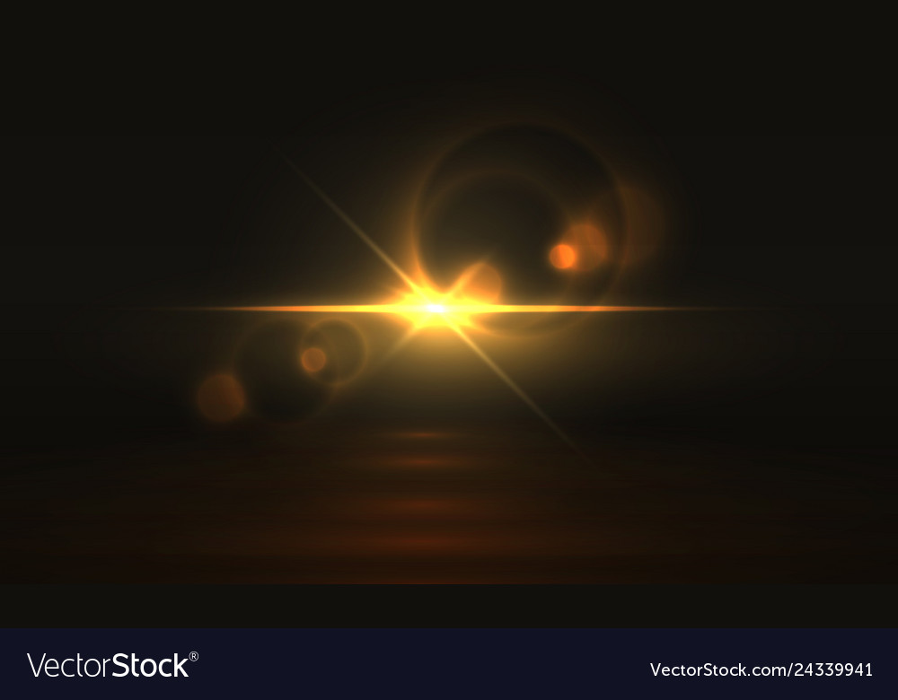Golden light effect glowing flare background