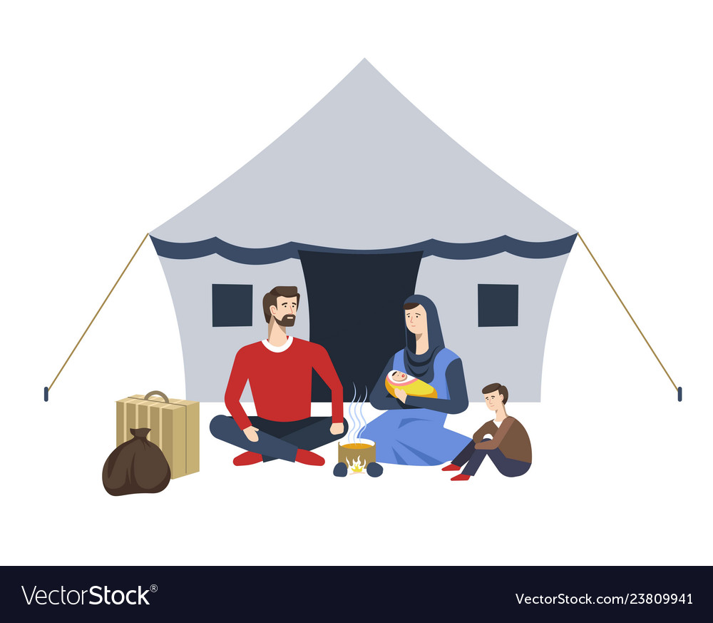 Refugees camp arab family and tent soup