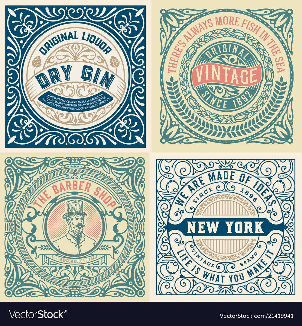 Set of 4 old labels