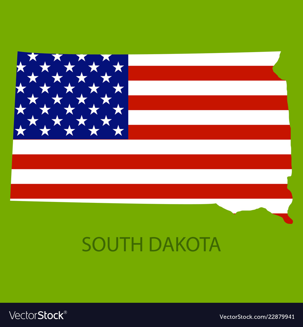South Dakota State Of America With Map Flag Print Vector Image