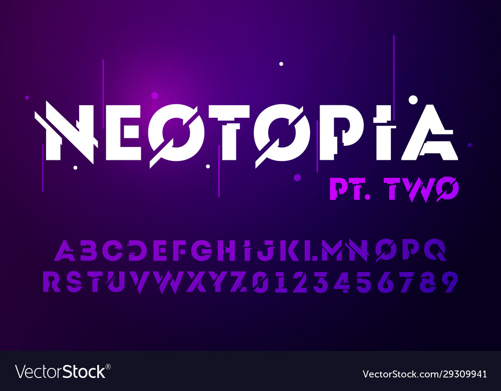 Technology effect font futuristic typography