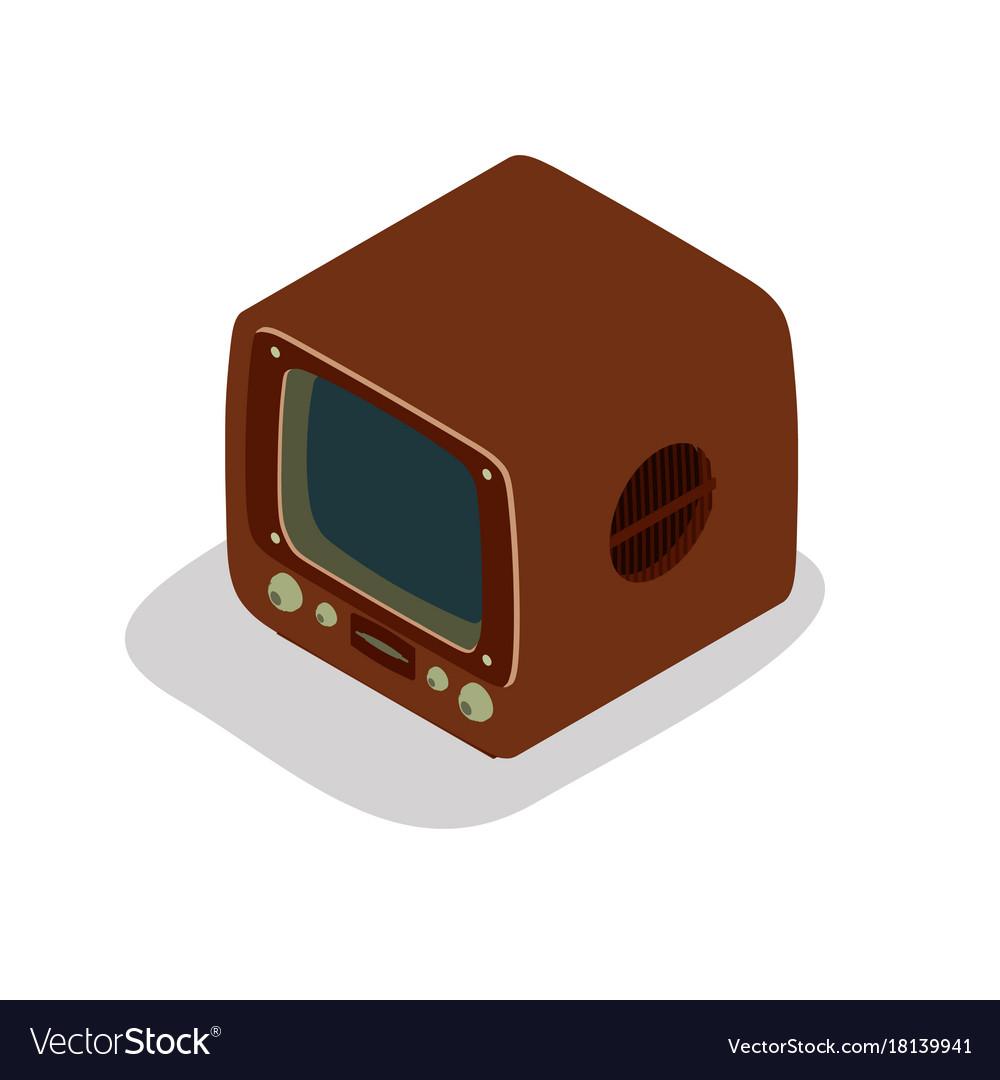 Tv retro television old icon vintage screen set vector image