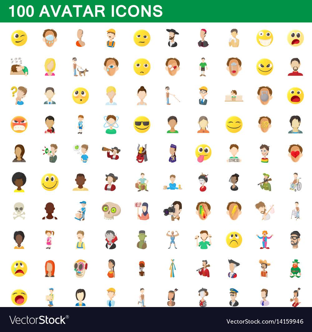 100 avatar icons set cartoon style