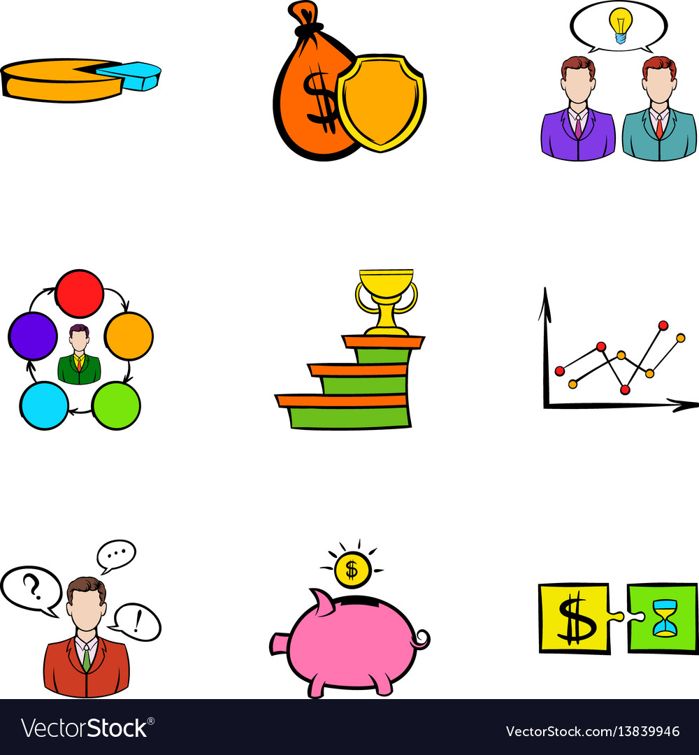 Bank icons set cartoon style