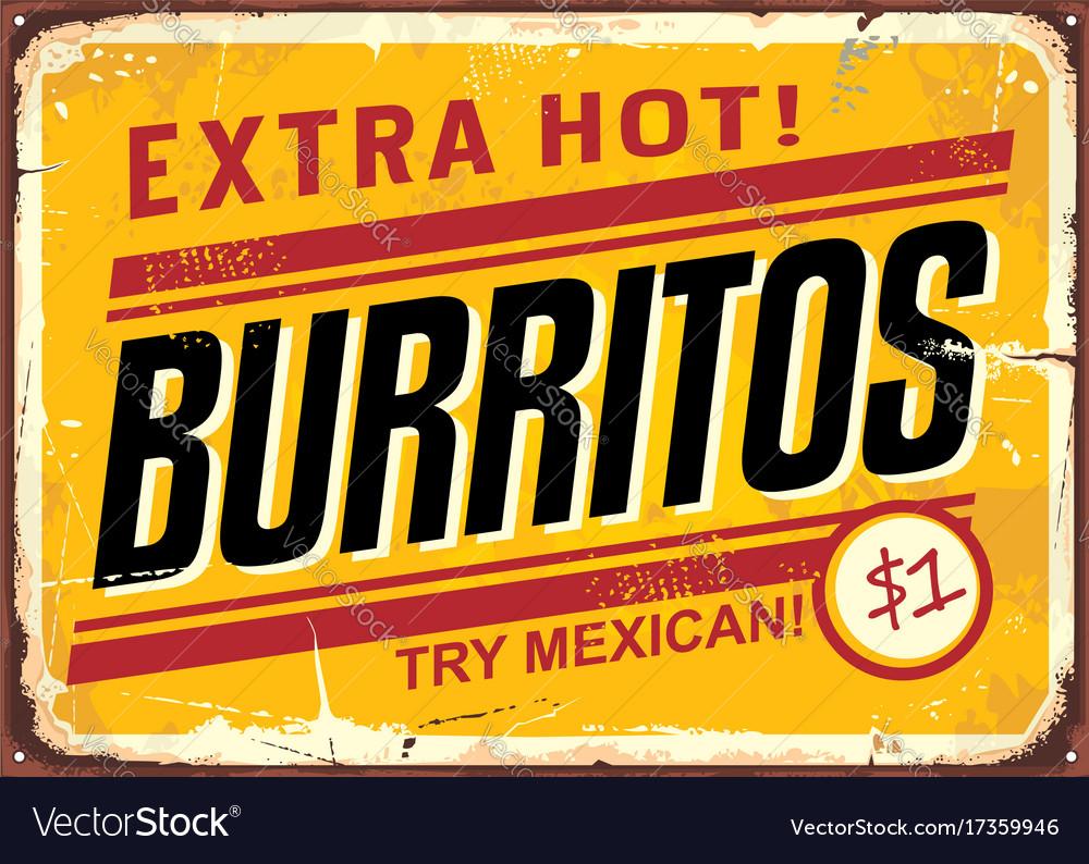 Burritos vintage metal promotional sign