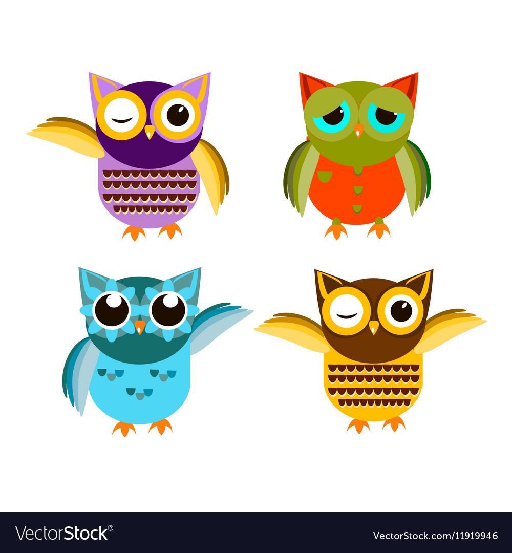 Cartoon owl set