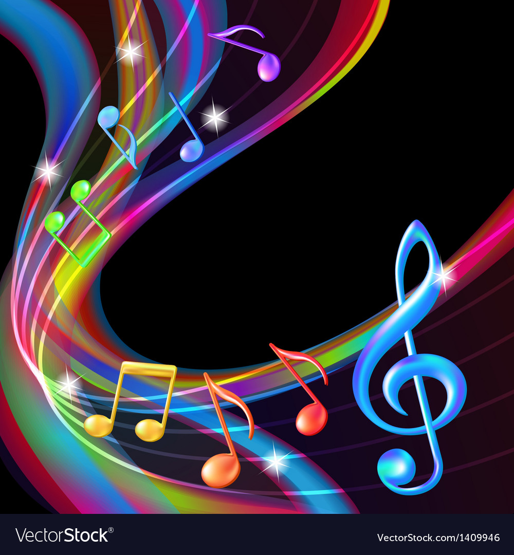 Colorful abstract notes music background Vector Image