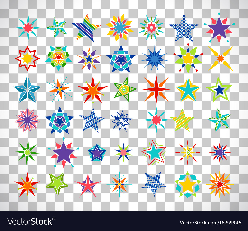 Colorful cartoon stars on transparent background vector image