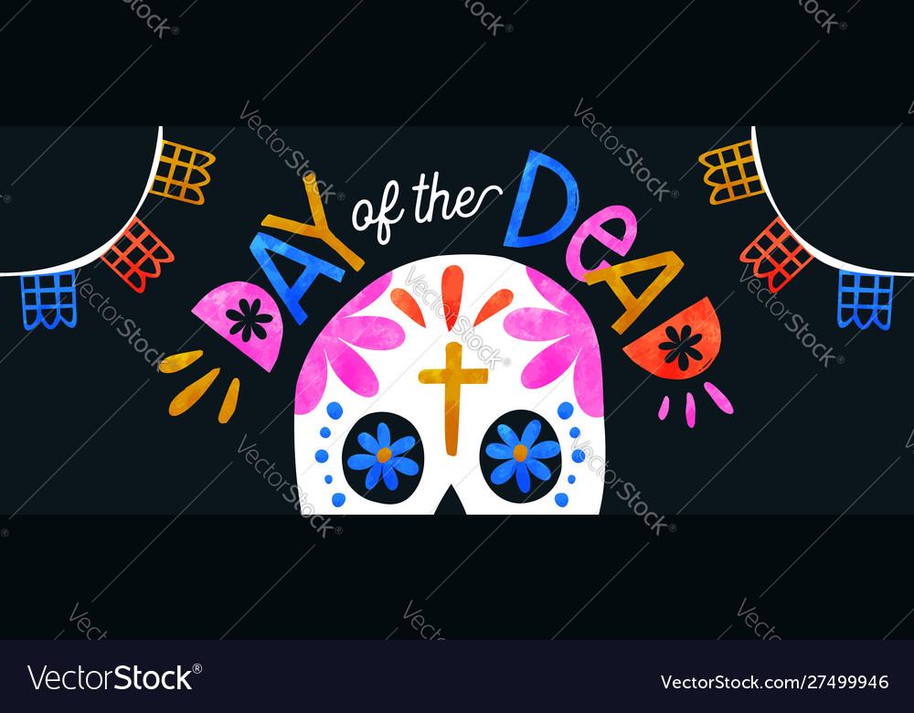Day dead colorful sugar skull banner